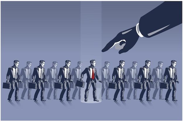 Gran mano apuntando al empresario elegido del grupo de líneas de empresarios. concepto de ilustración de selección competitiva de personal de negocios