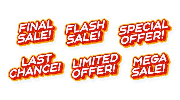 Gran mega venta, oferta especial establecida plantilla de efecto de texto rojo y amarillo con estilo de tipo 3d