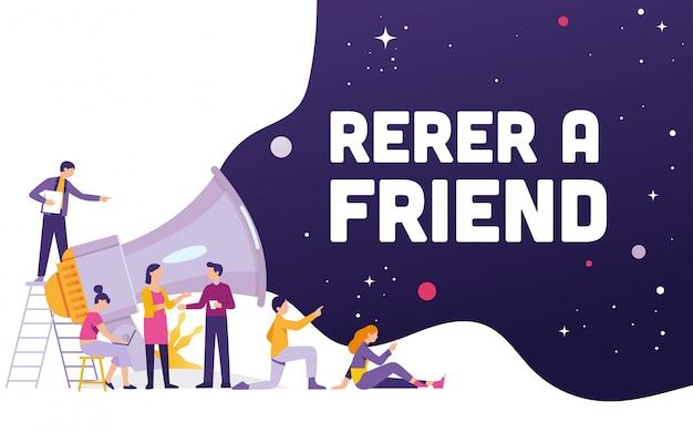 Gran megáfono con el concepto de palabra refer a friend