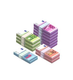 Gran montón de billetes diferentes en pilas en vista isométrica en blanco