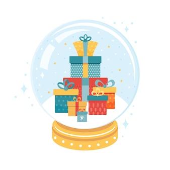 Gran montón de cajas de regalo navideñas dentro de una bola de nieve de navidad. bola de cristal de navidad con buey de divertidos dibujos animados