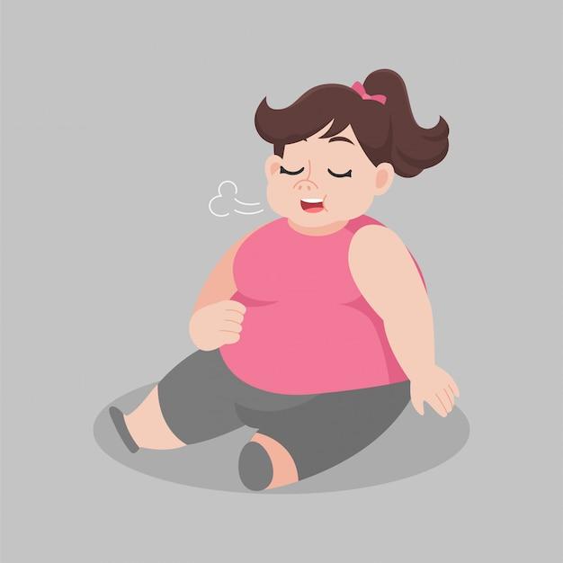 Gran mujer gorda comer sentado completo en el suelo, pérdida de peso concepto de salud de dibujos animados.