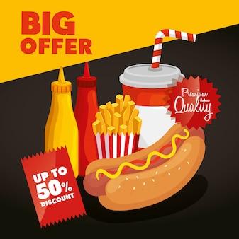 Gran oferta de comida rápida con descuento del cincuenta por ciento