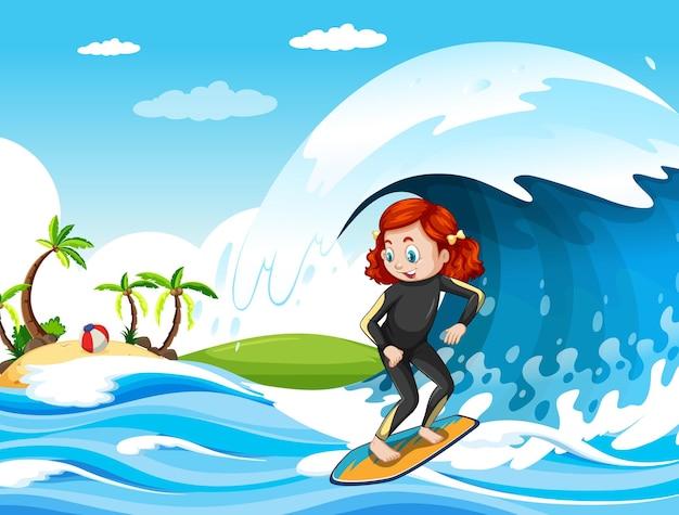 Gran ola en la escena del océano con una niña de pie sobre una tabla de surf