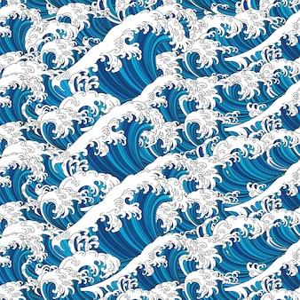 Gran ola japón océano de fondo y fondo de pantalla de patrones sin fisuras