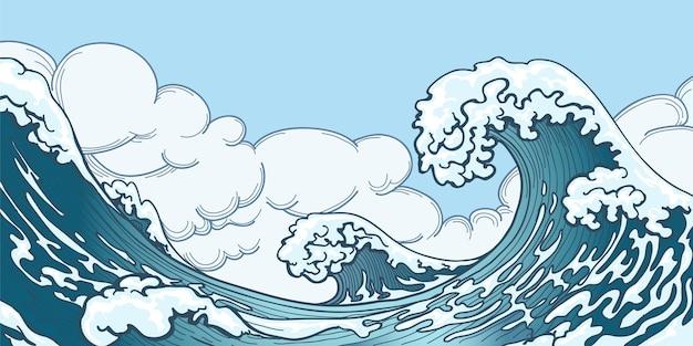 Gran ola del océano en estilo japonés. salpicaduras de agua, espacio de tormenta, naturaleza meteorológica. dibujado a mano ilustración de vector de ola grande