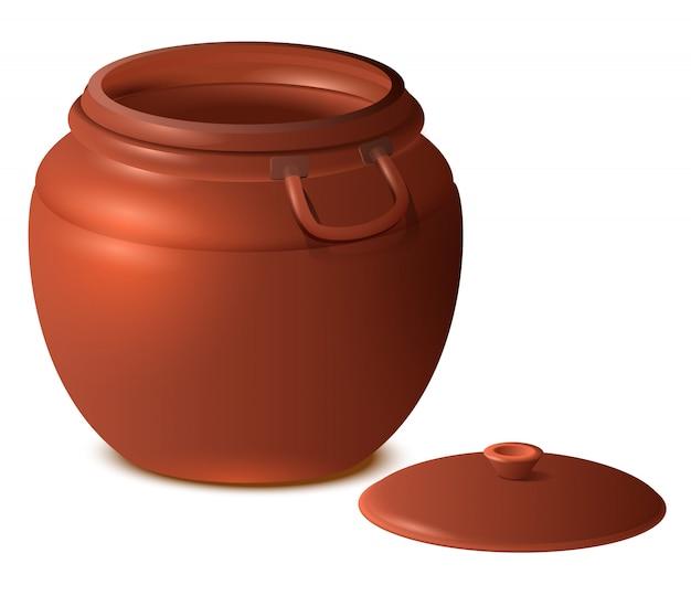 Gran olla de cerámica de arcilla vacía con tapa ilustración 3d