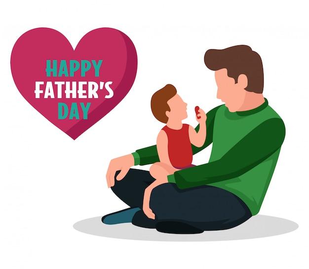 Un gran padre con su hijo pequeño en celebración del día del padre.