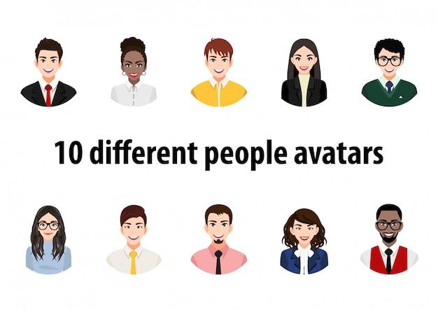Gran paquete de avatares de diferentes personas. conjunto de retratos masculinos y femeninos. personajes avatar de hombres y mujeres. imagen de usuario, iconos de cara para representar a una persona en un videojuego, foro de internet, cuenta.