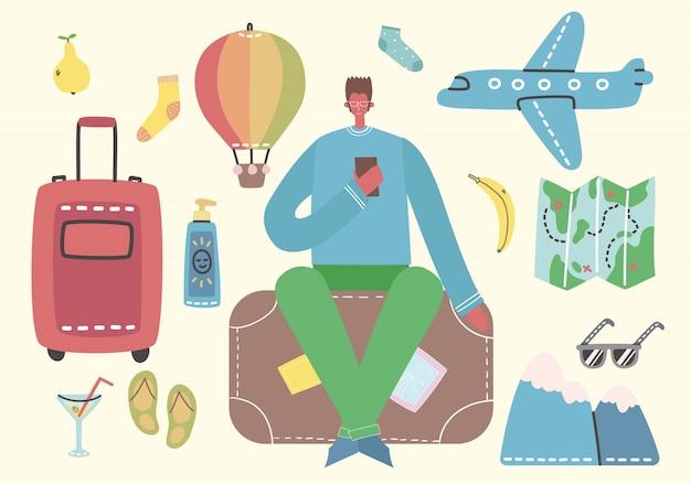 Gran paquete de objetos e iconos relacionados con viajes y vacaciones de verano. un hombre listo para el viaje. para usar en carteles, pancartas, tarjetas y collages de patrones.
