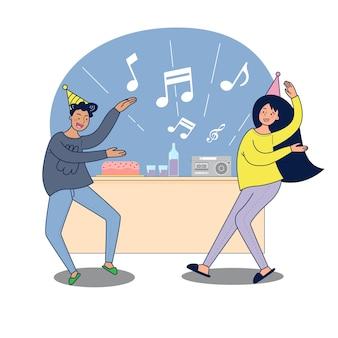 La gran pareja aislada está celebrando. ilustración vectorial dibujos animados planos amigos o pareja bailando en la fiesta en casa, celebrando en el interior