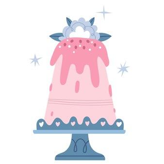 Gran pastel rosa con una flor azul sobre un soporte de encaje. magdalena de boda. cumpleaños de niña.