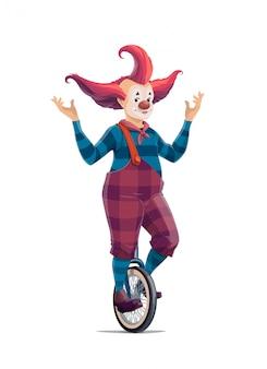 Gran payaso de dibujos animados de circo en monociclo