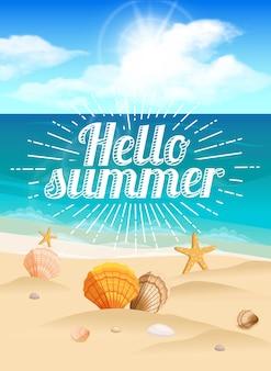 Gran postal, hermoso paisaje de una playa de verano