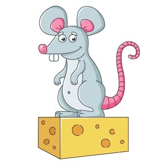 Un gran ratón gris se para sobre un trozo de queso. una rata bien alimentada.