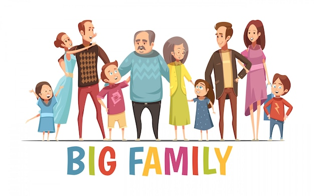 Gran retrato de familia armonioso feliz con abuelos dos parejas jóvenes y niños pequeños ilustración vectorial de dibujos animados