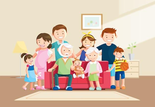 Gran retrato de familia con fondo borroso
