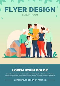 Gran reunión familiar. pareja con padres mayores y dos niños parados juntos en casa suburbana. ilustración de vector de amor, unión, concepto de estilo de vida