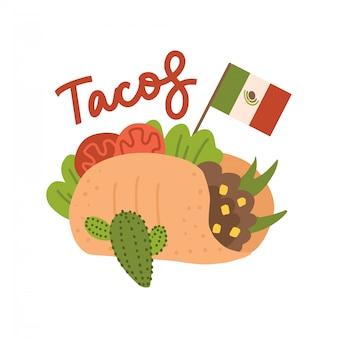 Gran sabroso concepto de taco con bandera mexicana. tacos de comida mexicana. tacos tradicionales aislados sobre fondo blanco. ilustración de dibujado a mano plana con letras