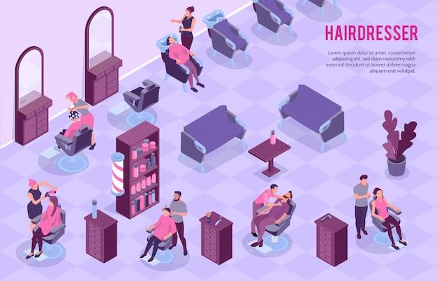 Gran salón de peluquería interior y estilistas en el trabajo 3d ilustración isométrica horizontal