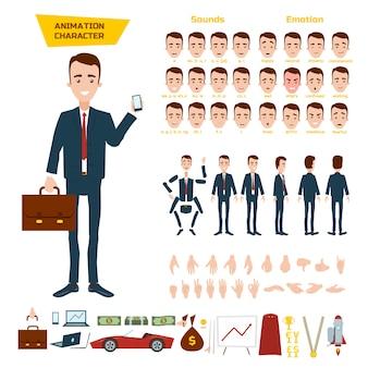 Un gran set para la animación de un personaje de hombre de negocios en blanco