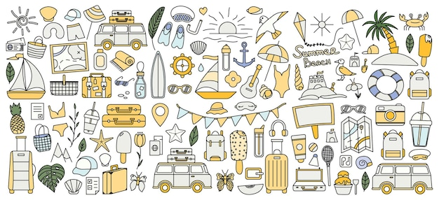 Un gran set con cosas para viajar a la montaña y al mar. conjunto de cosas de viaje de vacaciones. colección de verano. icono de línea de vector. trazo editable. estilo doodle.