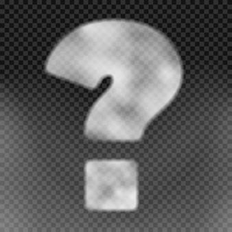 Gran signo de interrogación hecho de vapor blanco sobre un fondo png. ilustración vectorial realista.