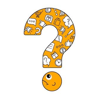 Un gran signo de interrogación con iconos de información en su interior.