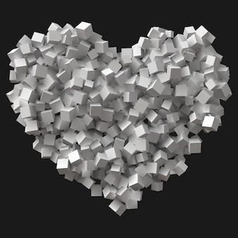 Gran símbolo del corazón formado por cubos aleatorios