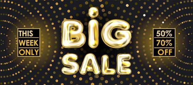 Gran venta banner negro con letras globo dorado