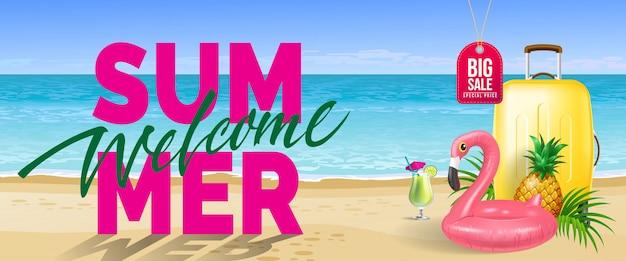 Gran venta, bienvenido verano banner. bebida fría, piña, flamenco de juguete, estuche de viaje amarillo