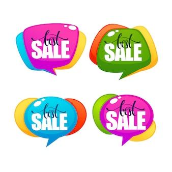 Gran venta, colección de vectores de etiquetas de burbujas de descuento brillante con composición de letras, pancartas y pegatinas
