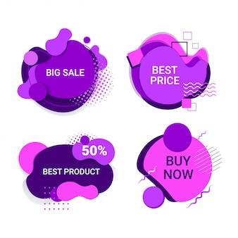 Gran venta comprar ahora conjunto de pegatinas oferta especial compras descuento colección de insignias banners abstractos de colores fluidos con formas púrpuras líquidas que fluyen