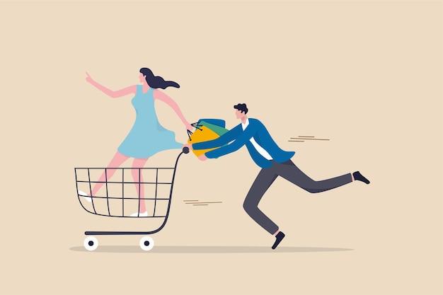 Gran venta de compras, concepto de consumismo