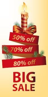 Gran venta de descuento banner de diseño. vela navideña