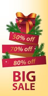 Gran venta de diseño de banner. regalo de navidad