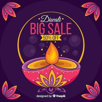 Gran venta de diwali dibujado a mano