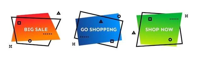 Gran venta, ir de compras, comprar ahora. conjunto de tres coloridas banderas de moda geométricas. forma degradada moderna con texto de promoción. ilustración vectorial.