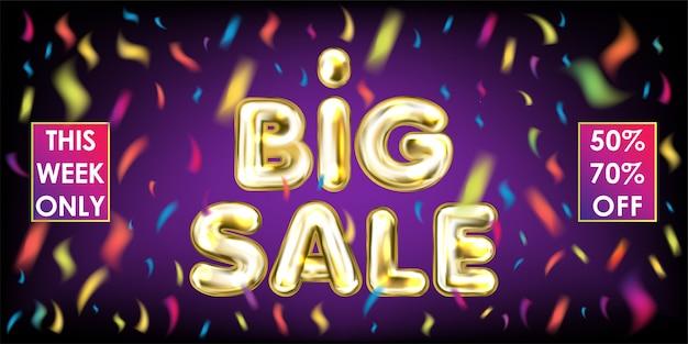 Gran venta de letras doradas con confeti de colores en la violeta.