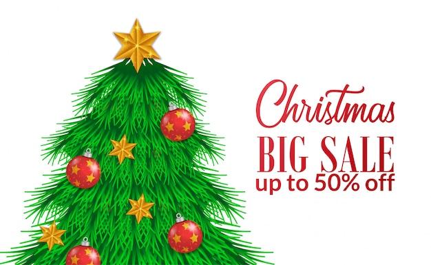 Gran venta navideña con ilustración de abeto.