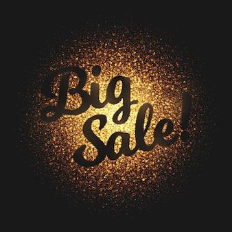 Gran venta de oro brillo partículas vector fondo