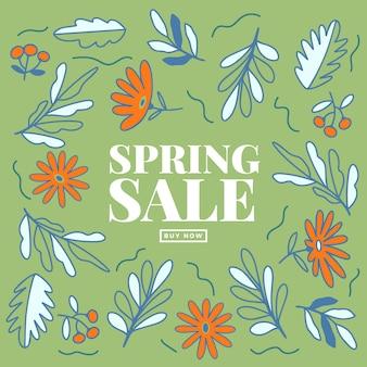 Gran venta de primavera dibujado a mano con hojas y flores