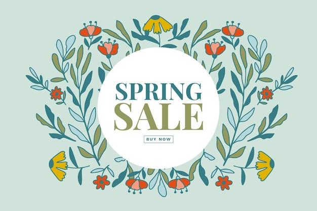 Gran venta de primavera dibujado a mano con letras