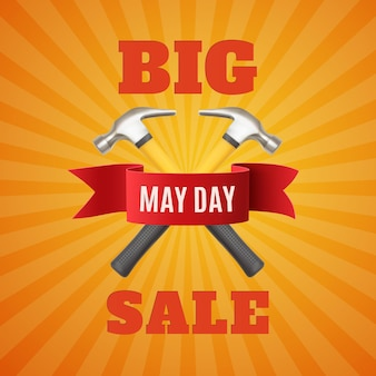 Gran venta del primero de mayo. primero de mayo. fondo del día del trabajo con dos hummers y cinta roja.