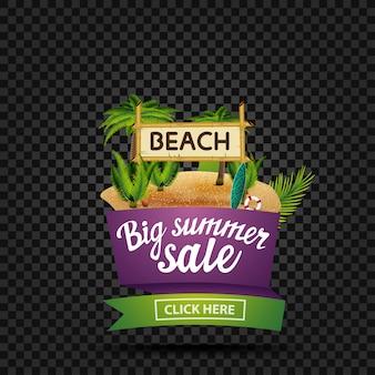 Gran venta de verano, banner de descuento aislado en la oscuridad