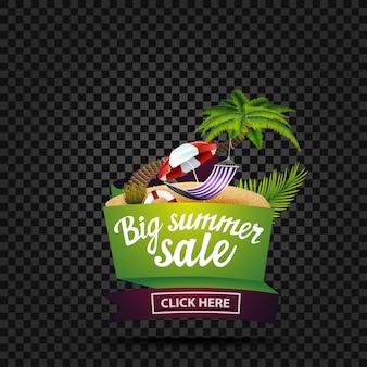 Gran venta de verano, banner de descuento aislado.