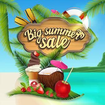 Gran venta de verano, banner web con cartel de madera con decoración de mar.