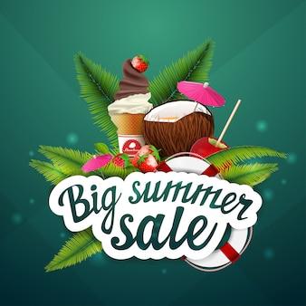 Gran venta de verano, descuento, diseño de banner web seleccionable para su creatividad.