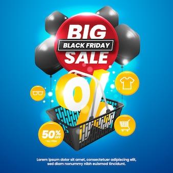 Gran venta de viernes negro con ilustración de descuento en carrito de compras