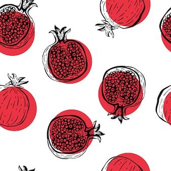 Granada dibujada a mano de patrones sin fisuras. ilustración vectorial